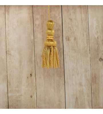 Borla de oro de 5 cm con fleco de canutillo y gusanillo de 5 cm