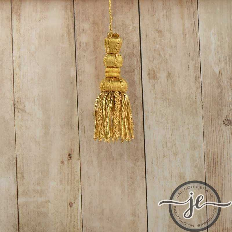 French gold tassel 5 cm with curly fringe 5 cm
