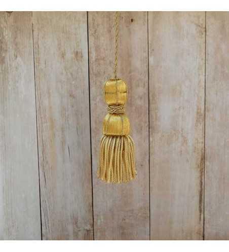 Borla de oro de 5 cm con fleco de canutillo de 5 cm