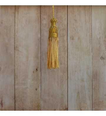 Borla de oro de 4 cm con fleco de canutillo de 7 cm