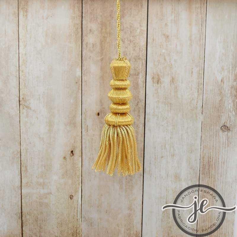 Borla de oro de 7 cm con fleco de canutillo de 5 cm