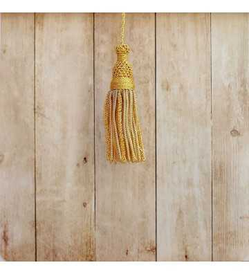 Gold tassel 5 cm with 8 cm worm fringe