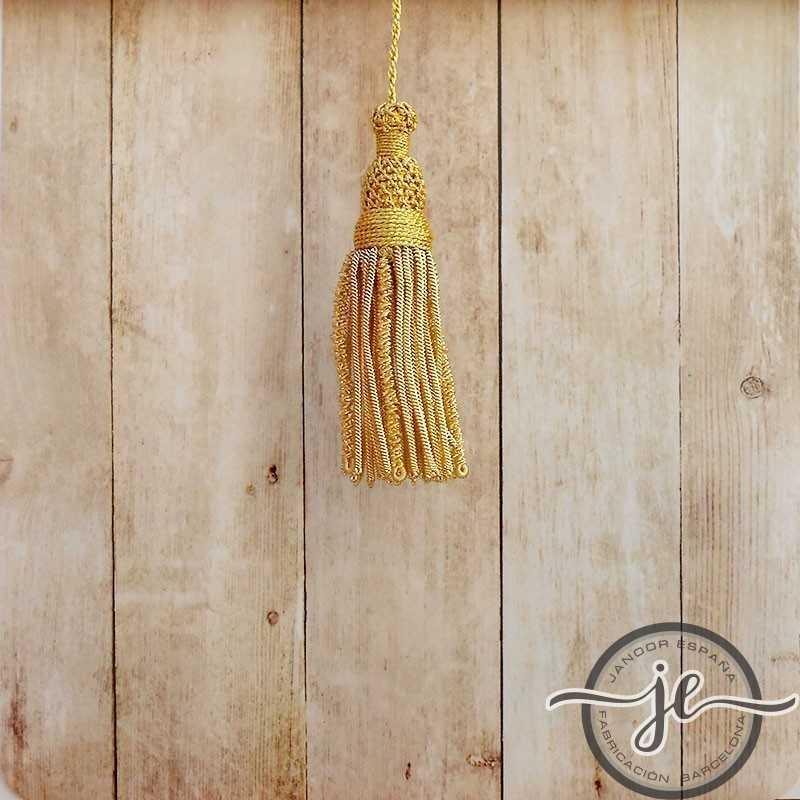 Borla de oro de 5 cm con fleco de canutillo y canelón de 8 cm