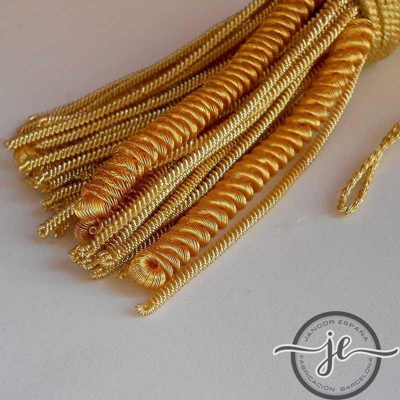 Borla de oro de 5 cm con fleco de canutillo rizado de 8 cm