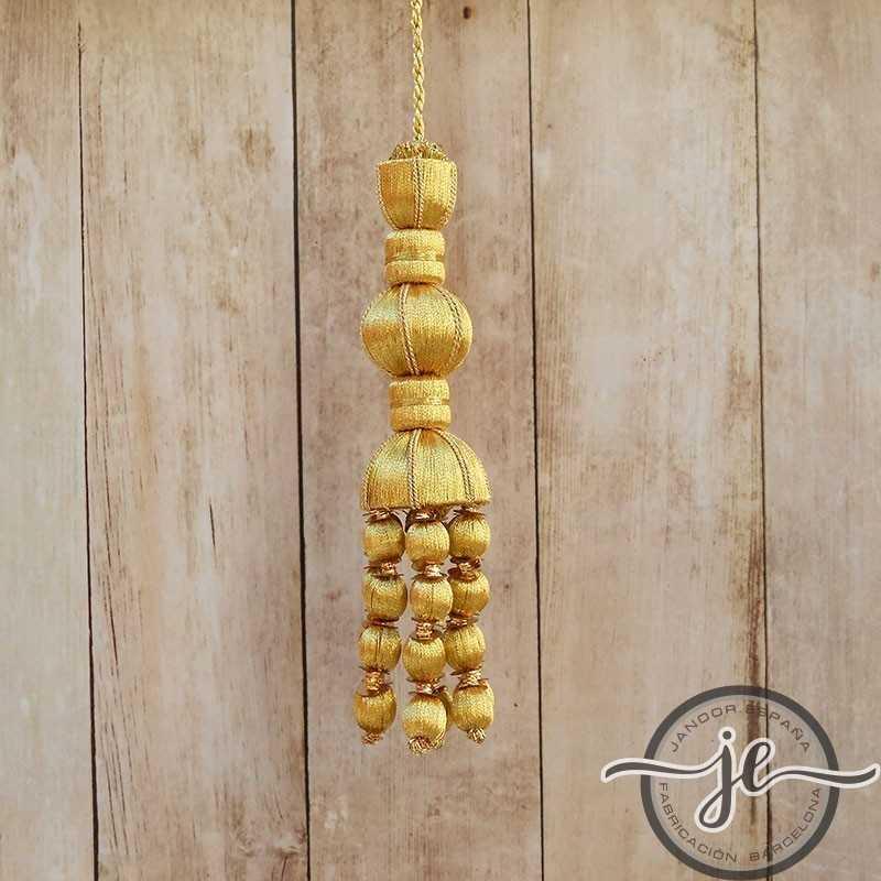 Borla de oro de 10 cm con fleco de bellota de 5 cm