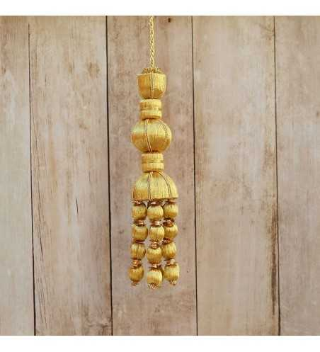 Gold tassel 10 cm with 5 cm ball drop fringe