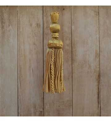 Gold tassel 10 cm with 8 cm curly fringe
