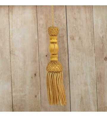 Borla de oro francés con redes 10 cm con fleco de canutillo 7cm