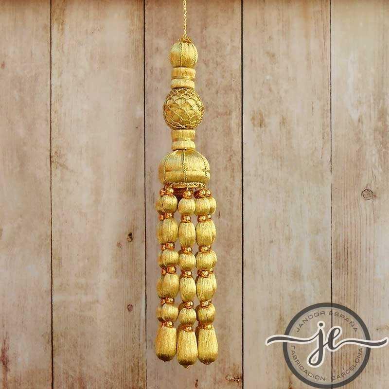 Borla de oro francés 12 cm con fleco de bellotas y con perlas de 10 cm