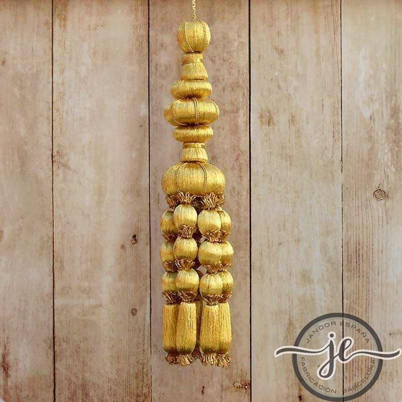 French gold tassel 12 cm with acorn fringe 11 cm