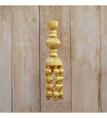 Borla dorada de 12 cm con fleco de bellota y con perlas de 5 cm
