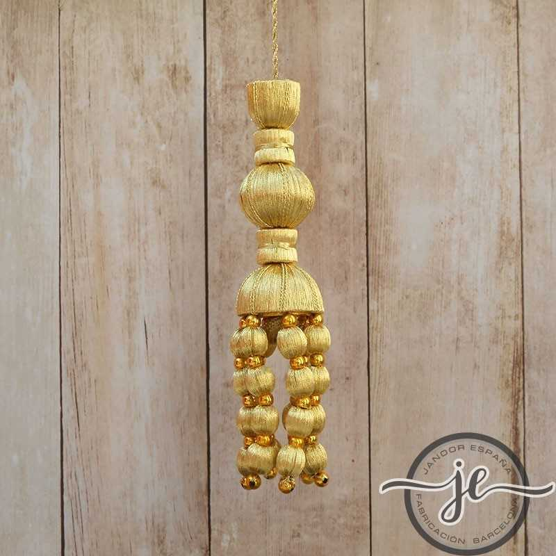 Golden tassel 12 cm with acorn fringe and with pearls 5 cm