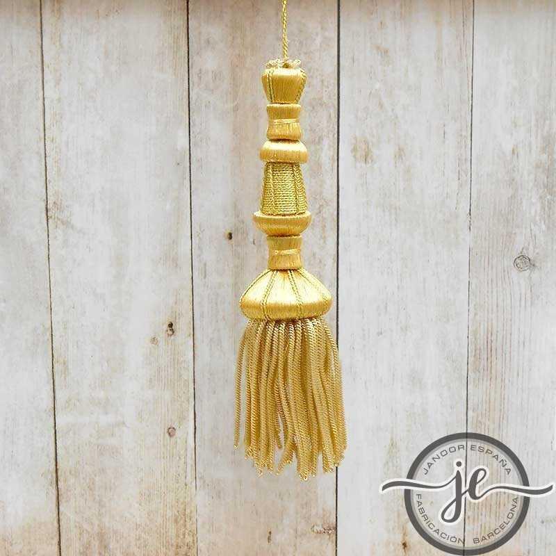 Borla dorada 11 cm con fleco de canutillo de 6 cm