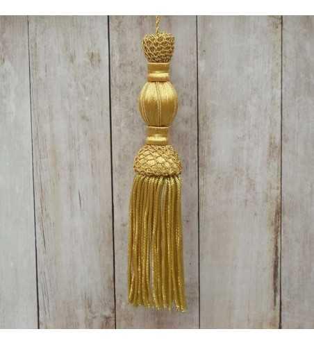 Borla dorada de 10 cm con fleco de canutillo de 10 cm