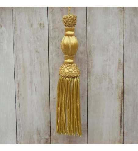 Golden tassel 10 cm with 10 cm fringe