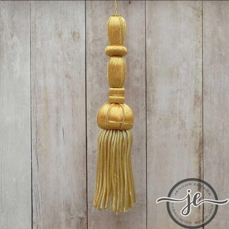 Borla dorada 12 cm con fleco de canutillo de 6 cm