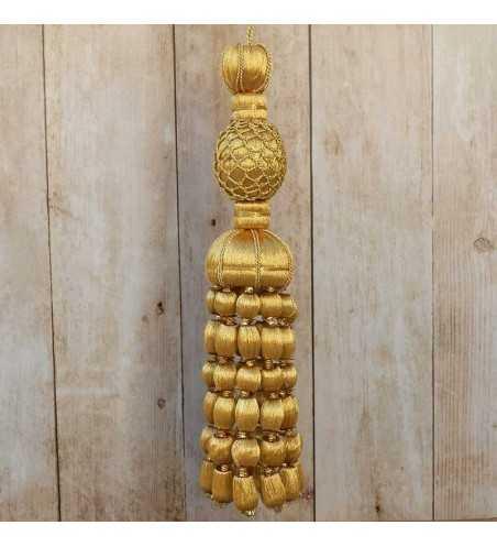 Golden tassel 11 cm with 10 cm acorn fringe