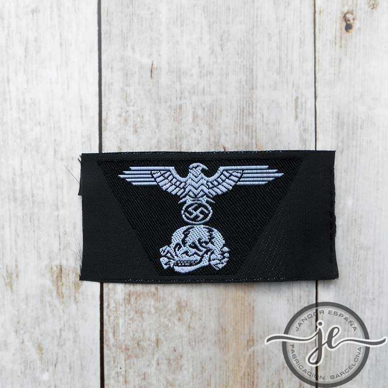Panzer SS man's woven trapezoid cap insignia