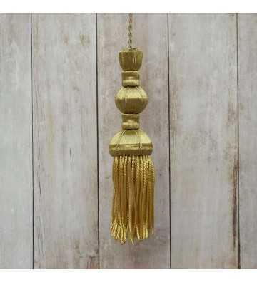Borla de oro oscuro de 10 cm con fleco de canutillo de 8 cm