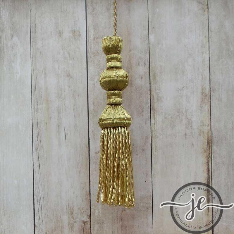 Dark gold tassel 10 cm with 8 cm fringe