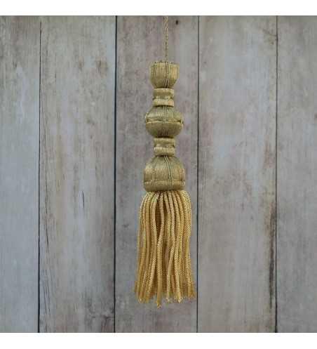 Borla de oro oscuro de 9 cm con fleco de canutillo de 9 cm