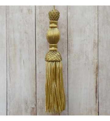 Borla de oro oscuro de 10 cm con fleco de canutillo de 10 cm