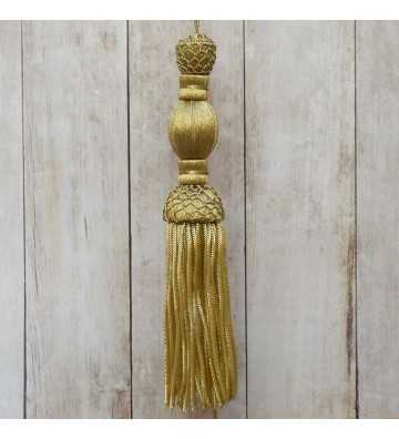 Dark gold tassel 10 cm with 10 cm fringe