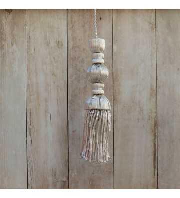 Silver tassel 10 cm with 7 cm fringe
