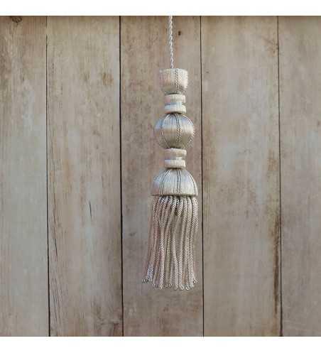 Borla de plata de 10 cm con fleco de canutillo de 7 cm