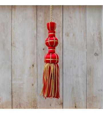 Borla de seda roja de 10 cm con fleco de canutillo de 7 cm