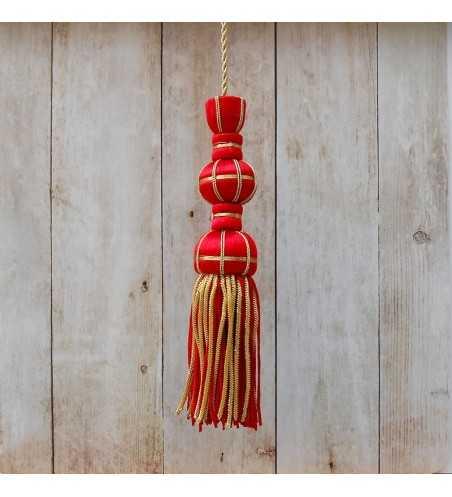 Red silk tassel 10 cm with 7 cm silk fringe