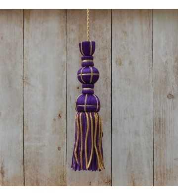 Borla de seda lila 10 cm con fleco de canutillo de 7 cm