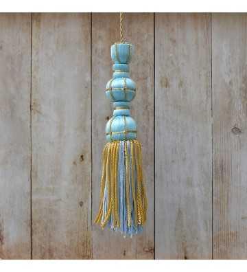 Borla de seda azul claro 10 cm con fleco de canutillo de 7 cm