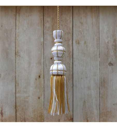 White silk tassel 10 cm with 7 cm silk fringe