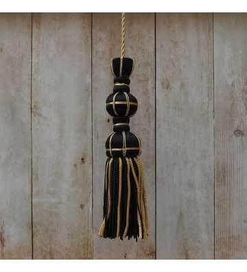 Black silk tassel 10 cm with 7 cm silk fringe