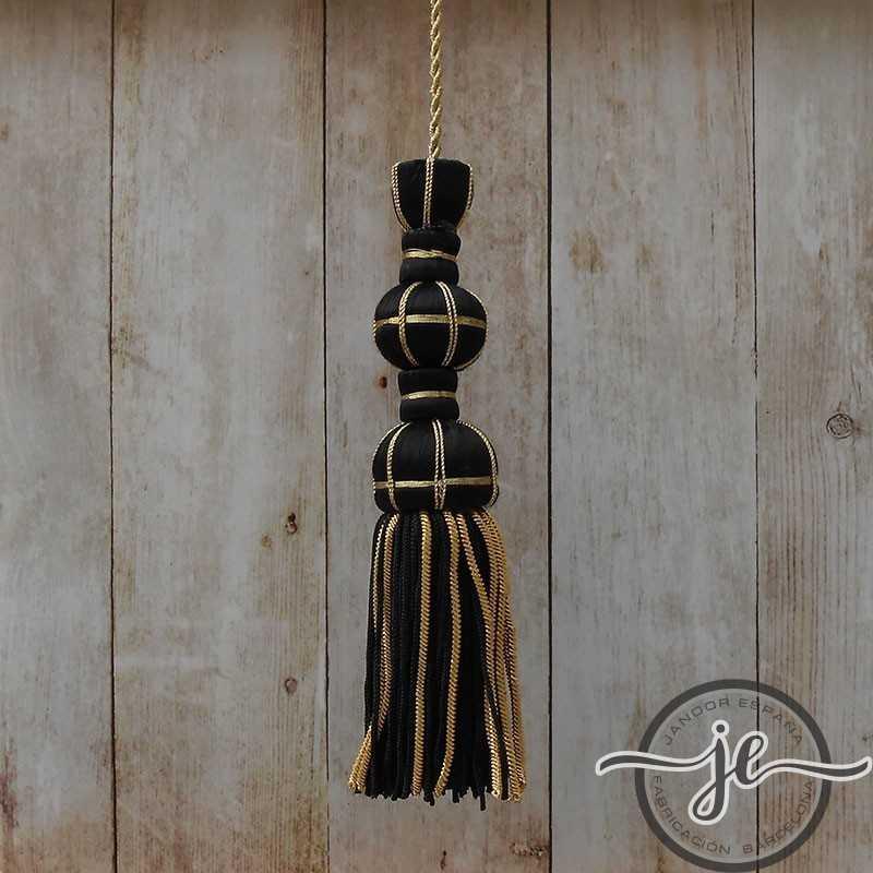 Borla de seda negra de 10 cm con fleco de canutillo de 7 cm
