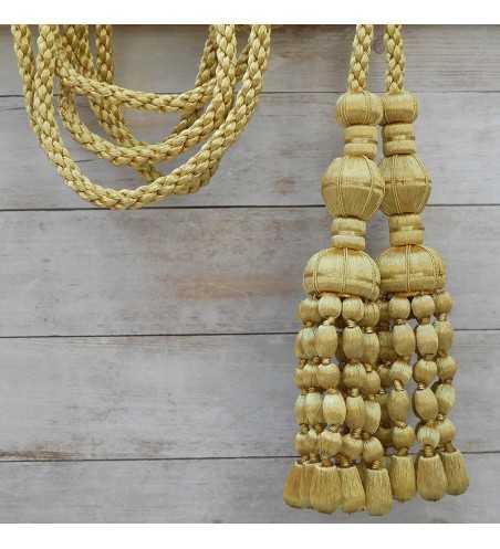 Cordón de oro de 3 metros con borlas de oro y fleco de bellota 20 cm