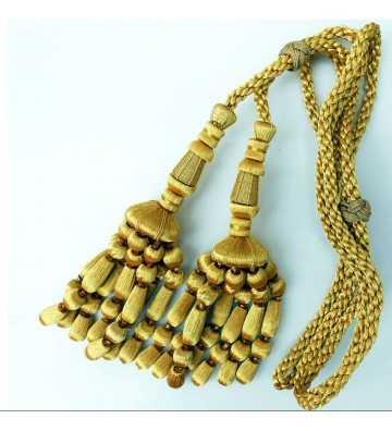 Cordón de oro de 2 metros con borlas de oro y fleco de bellota 23 cm