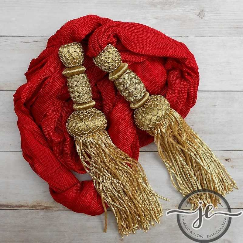 Red waistband with gold tassels 23 cm and with fringe 14 cm