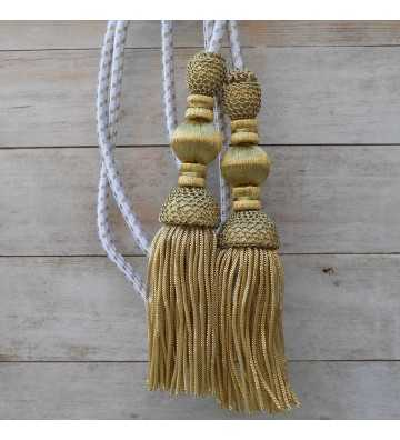 Silk cord 1.5 meters with dark gold tassels 18cm with fringe