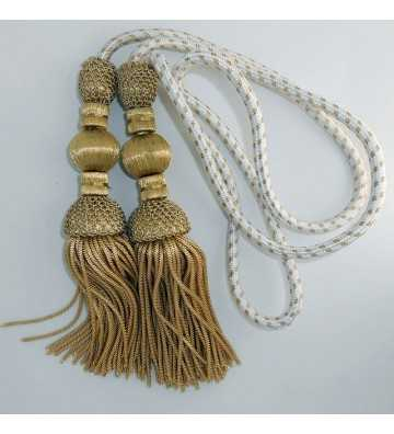 Silk cord 1.5 meters with dark gold tassels 18 cm with fringe