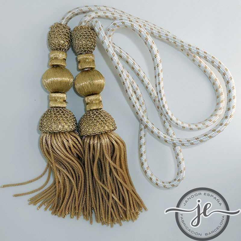 Cordón de seda de 1.5 metros con borlas de oro oscuro 18 cm con fleco de canutillo