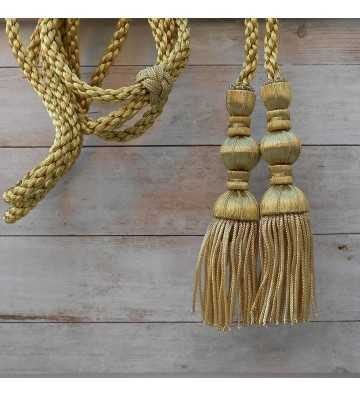 Dark gold cord 3 m with 18 cm dark gold tassels with fringe