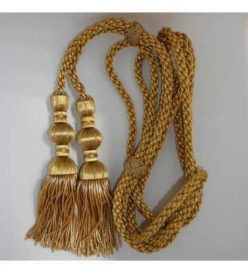 Dark gold cord 3 m with 18 cm dark gold tassels with fringe