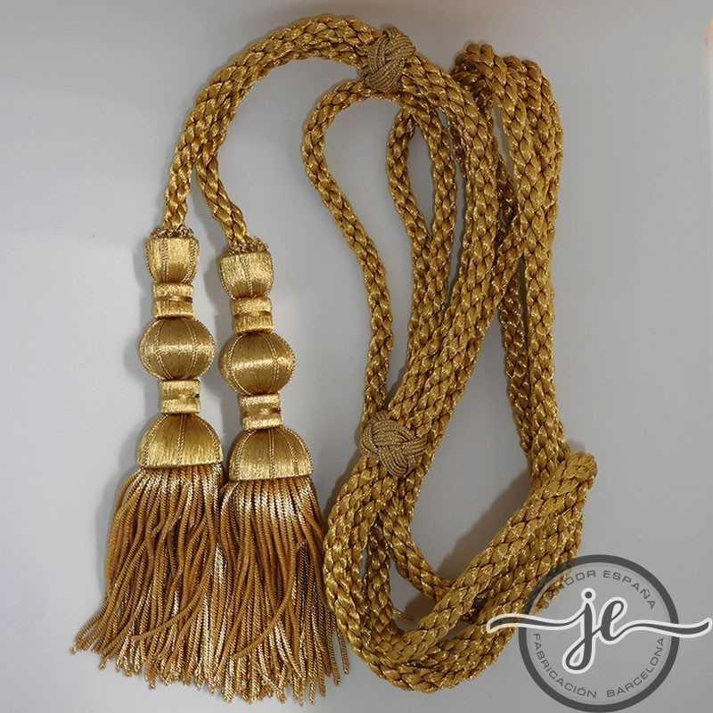 Cordón de oro oscuro 3 m con borlas de oro oscuro de 18 cm con fleco de canutillo