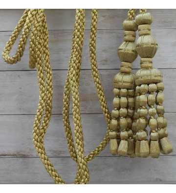 Cordón de oro oscuro de 3 metros con borlas de oro oscuro con fleco de canutillo 20 cm