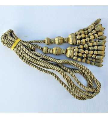 Dark gold cord 3 m with dark gold tassels with acorn fringe 20 cm