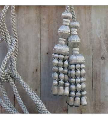 Cordón de plata de 3 metros con borlas de plata con fleco de bellota de 20 cm