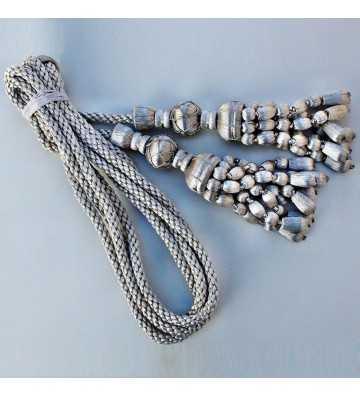Cordón de plata de 3 metro con borlas de plata con fleco de bellota de 20 cm