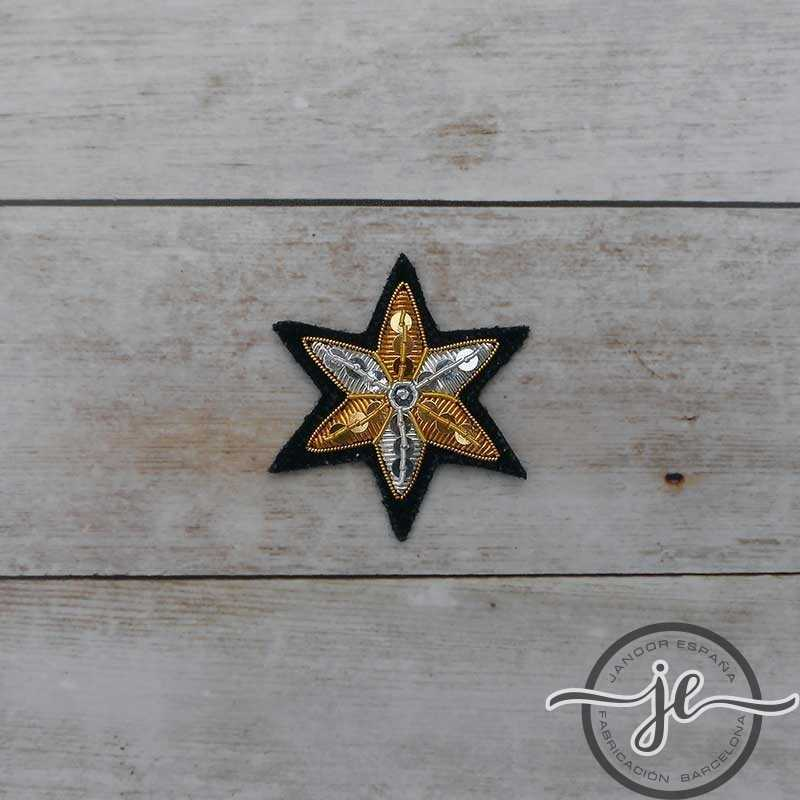 Embroidered star in gold and silver string length